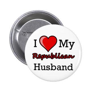 I corazón mi botón republicano del marido pins