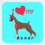 I corazón mi boxeador calcomanías cuadradass
