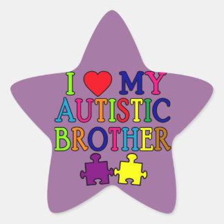 I corazón mi Brother autístico Pegatina En Forma De Estrella