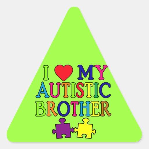 I corazón mi Brother autístico Pegatina Triangular