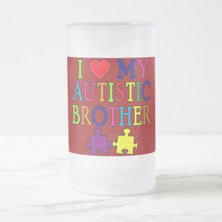 I corazón mi Brother autístico Taza De Cristal