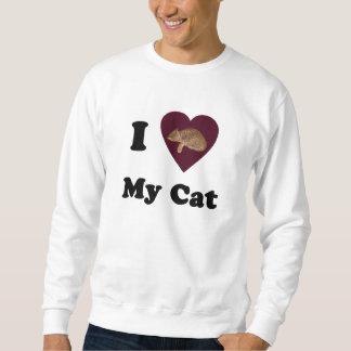 I corazón mi camiseta del gato sudaderas encapuchadas