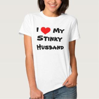 I corazón mi camiseta Stinky del marido Remera