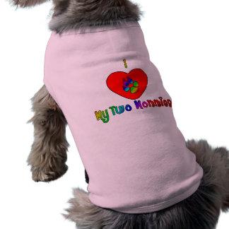 I corazón mi camisetas del perro de dos mamás playera sin mangas para perro