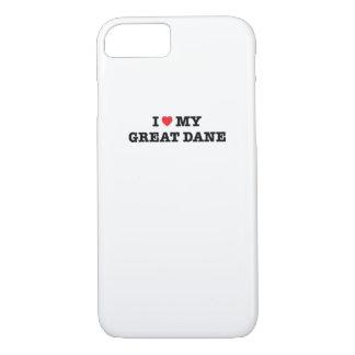 I corazón mi caso del iPhone 7 de great dane Funda iPhone 7