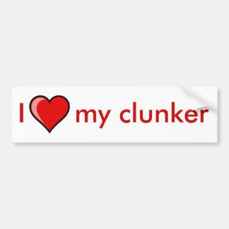 I corazón mi clunker etiqueta de parachoque