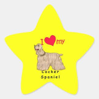 I corazón mi cocker spaniel pegatina forma de estrella personalizada