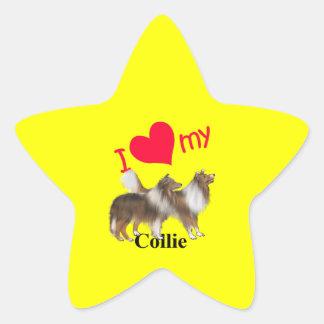 I corazón mi collie calcomanías forma de estrellas personalizadas