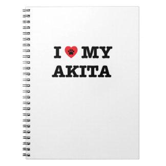 I corazón mi cuaderno de Akita
