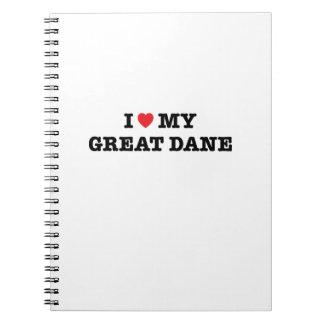 I corazón mi cuaderno de great dane