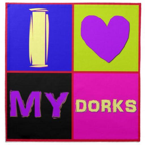 I corazón mi cuadrado de los Dorks Servilleta Imprimida