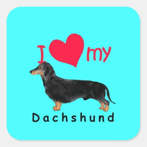 I corazón mi Dachshund Pegatinas Cuadradases Personalizadas