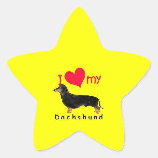 I corazón mi Dachshund Calcomanía Forma De Estrellae
