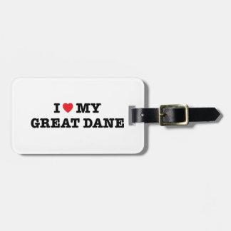 I corazón mi etiqueta del equipaje de great dane etiqueta para equipaje