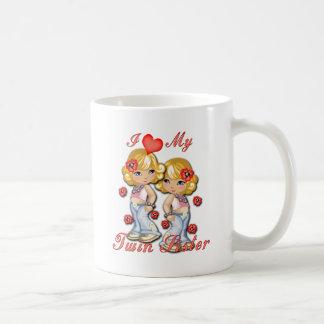 I (corazón) mi hermana gemela taza de café