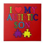 I corazón mi hijo autístico azulejo cerámica