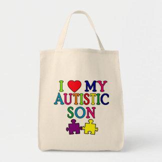I corazón mi hijo autístico bolsa tela para la compra