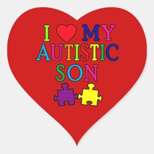I corazón mi hijo autístico pegatina en forma de corazón