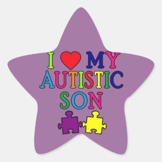 I corazón mi hijo autístico pegatina en forma de estrella