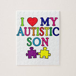 I corazón mi hijo autístico puzzle con fotos