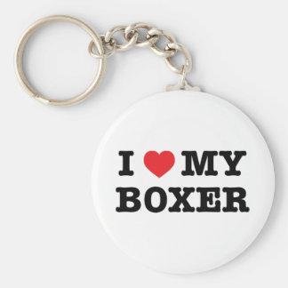 I corazón mi llavero del botón del boxeador