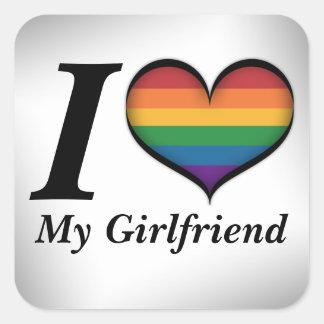 I corazón mi novia pegatina cuadrada