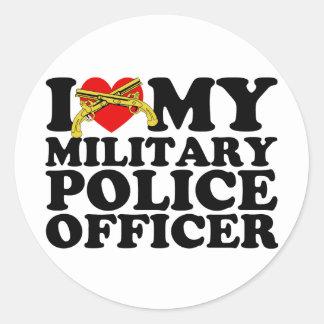 """I """"corazón"""" mi oficial de policía militar pegatina redonda"""