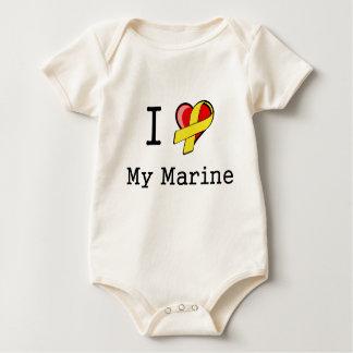 I corazón mi orgánico infantil marino mameluco de bebé