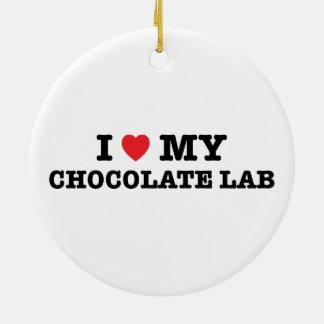 I corazón mi ornamento del laboratorio del adorno navideño redondo de cerámica