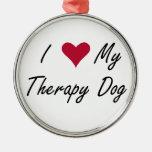 I corazón mi ornamento del perro de la terapia adorno