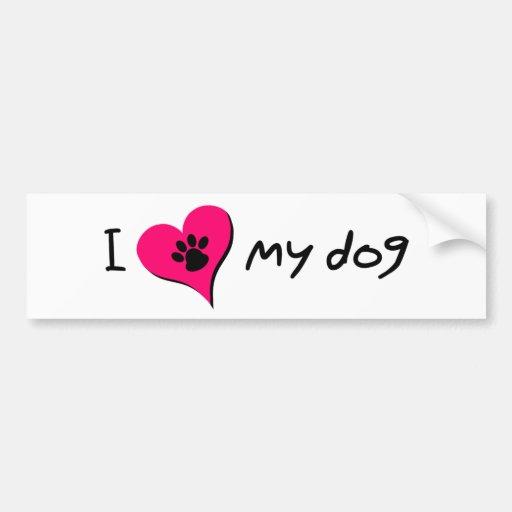 I [corazón] mi perro pegatina para auto