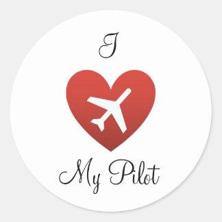 I corazón mi piloto pegatina redonda