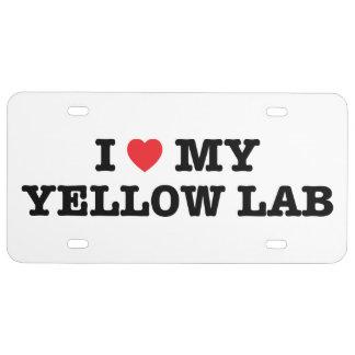 I corazón mi placa amarilla del laboratorio placa de matrícula