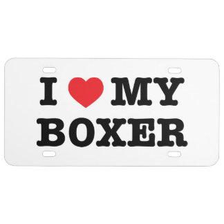 I corazón mi placa del boxeador placa de matrícula