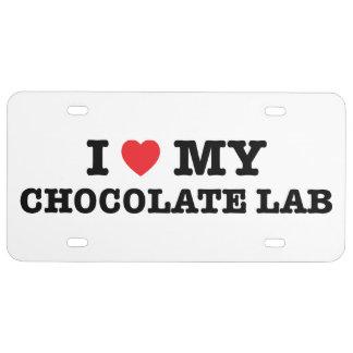 I corazón mi placa del laboratorio del chocolate placa de matrícula