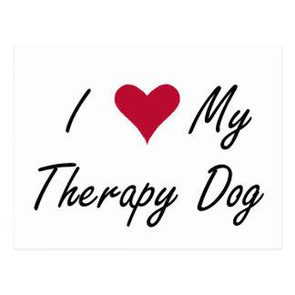 I corazón mi postal del perro de la terapia