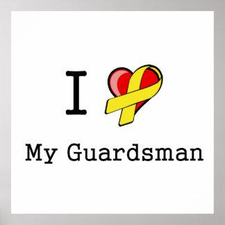 I corazón mi poster del soldado de la guardia