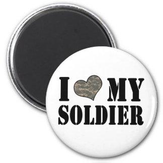 I corazón mi soldado imán redondo 5 cm