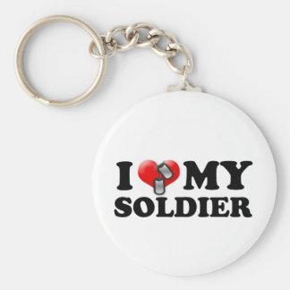 I (corazón) mi soldado llavero redondo tipo pin