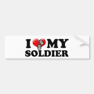 I (corazón) mi soldado pegatina para auto