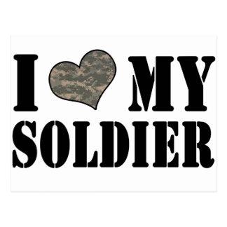I corazón mi soldado tarjeta postal
