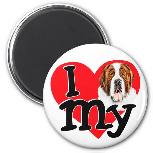 I (corazón) mi St Bernard Imán De Frigorífico