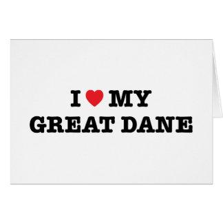 I corazón mi tarjeta de felicitación de great dane