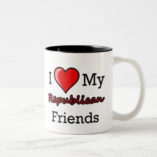 I corazón mi taza republicana de los amigos