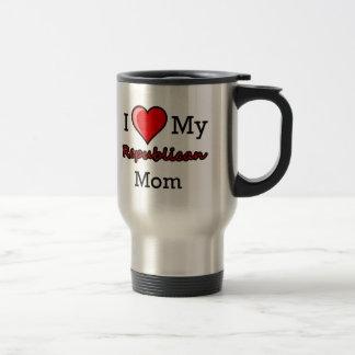 I corazón mi taza republicana del viaje de la mamá