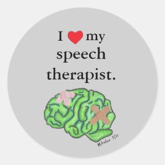 I [corazón] mi terapeuta de discurso pegatina redonda