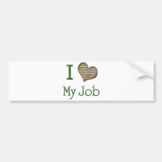 I corazón mi trabajo pegatina de parachoque