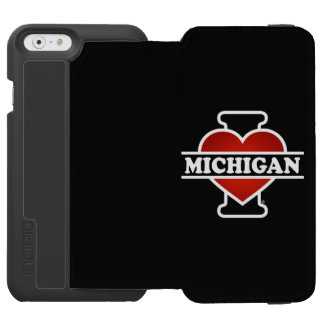 I corazón Michigan Funda Cartera Para iPhone 6 Watson
