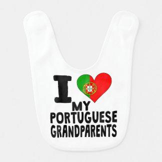 I corazón mis abuelos portugueses baberos de bebé
