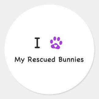 I corazón mis conejitos rescatados pegatina redonda